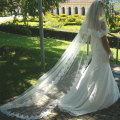 2.5M New White Ivory Wedding Veils 2 Layers Tulle Lace Bridal Veil Appliques Long Wedding Veil Veu De Noiva