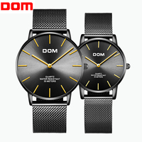 DOM New Simple Couple Watch King Queen Mesh Belt Watch Unisex Mens Women Ladies Casual Students Gift Quartz lovers Wrist Watches
