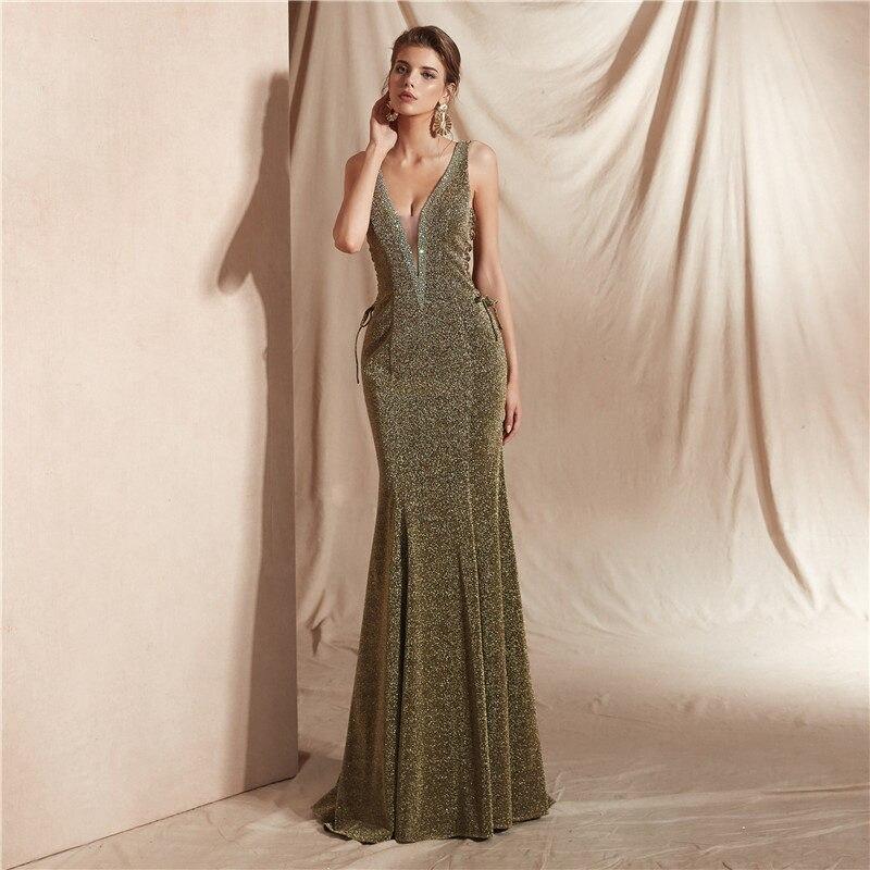 Sexy vintage dos nu robes de soirée longue sirène kakhi tan E015 robe de soirée sans manches col en V robes de fiesta - 4