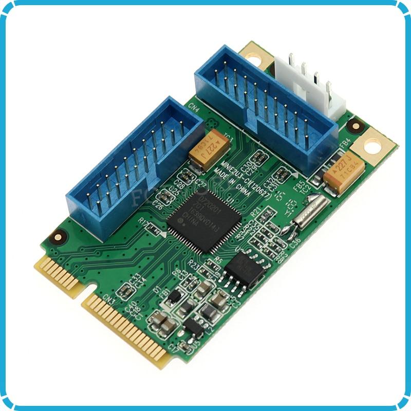 Mini PCI-e to 4 ports USB 3.0 adapter for mini itx mini PCI express to 2 porst 19 20 Pin USB 3.0 header with 2 19pin female cabl