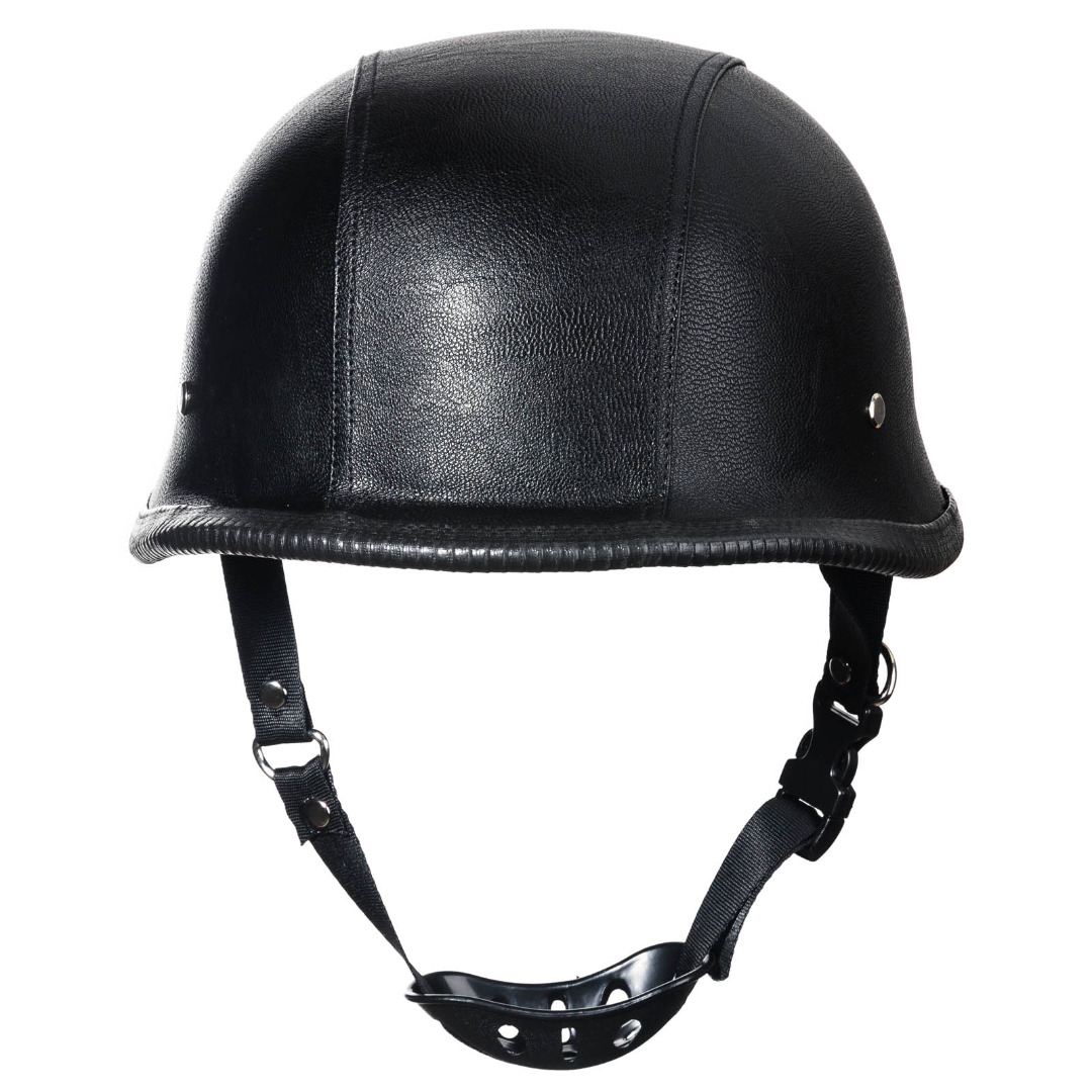 New WWII Style Black German Motorcycle Half Helmet High Quality M Size Dot Padded Motorcycle Half
