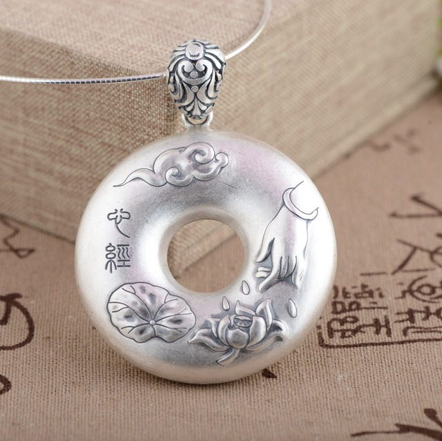 S990 Sterling Silver Prajna Paramita Heart Sutra Peace Clasp Buddha Pendant For Women With Lotus Engraved Chinese Words