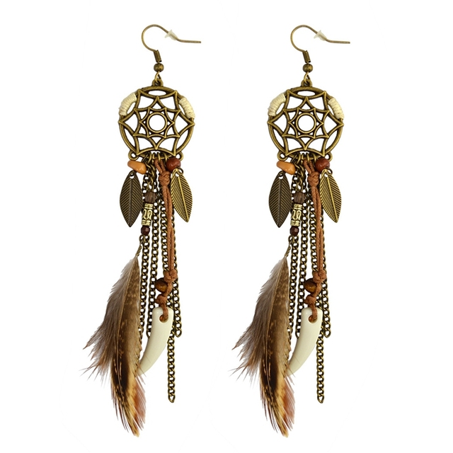 MISANANRYNE 2018 Indian Jewelry Boho Earrings Brown Long Feather Tassel  Drop Ethnic Earrings New Brincos For 515a15490a69