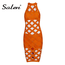 Salen 2017 New Solid Rivets Studded Hollow Out Sleeveless Sexy Bandage Dress