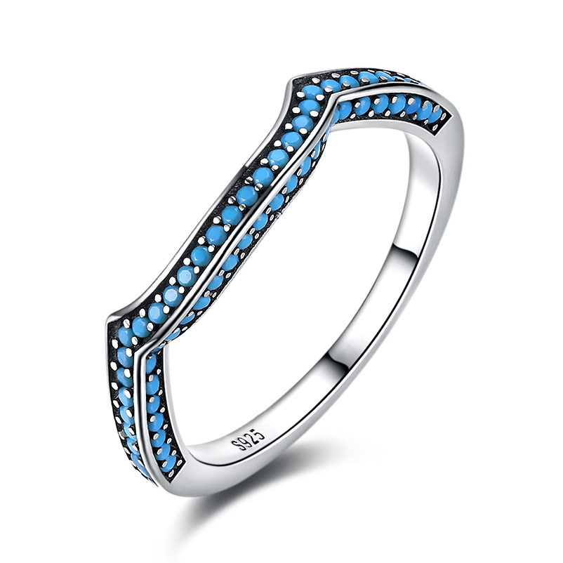 Geometric Turquoise 925 Sterling Silver Wedding Bands Rings For Women Girls Fashion Party Birthday Fine Jewelry Gift HA29D