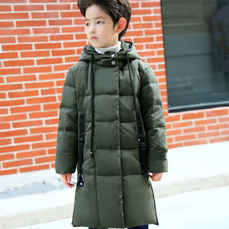 New Korean version of children's boys and girls' children's clothing winter coat thickened long style warm cap coat down jacket medium long style korean style hooded coat
