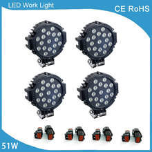4 Pcs 7 Inch 51W Car Round LED Work Light 12V 24V High-Power 17X3W Spot Flood For 4×4 Offroad Truck Tractor ATV SUV Driving Lamp