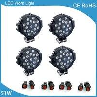 4 Pcs 7 Inch 51W Car Round LED Work Light 12V 24V High Power 17X3W Spot