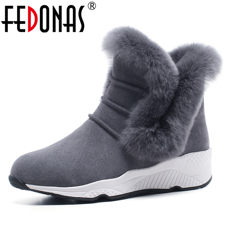 FEDONAS Newest Women Fur Snow Boots Warm Plush Wedges High Heels Cow Suede Ankle Boots Ladies Winter Short Casual Shoes Woman lady short boots tassel fur warm winter wedges snow women boots shoes genuinei mitation casual knitting snow shoes z244