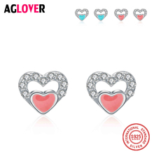Original 925 Sterling Silver Women Earrings Double Heart Cubic Zircon For Wedding Engagement Jewelry Gifts