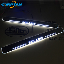 CARPTAH Trim Pedal Car Exterior Parts LED Door Sill Scuff Plate Pathway Dynamic Streamer light For Hyundai Solaris 2015 - 2018