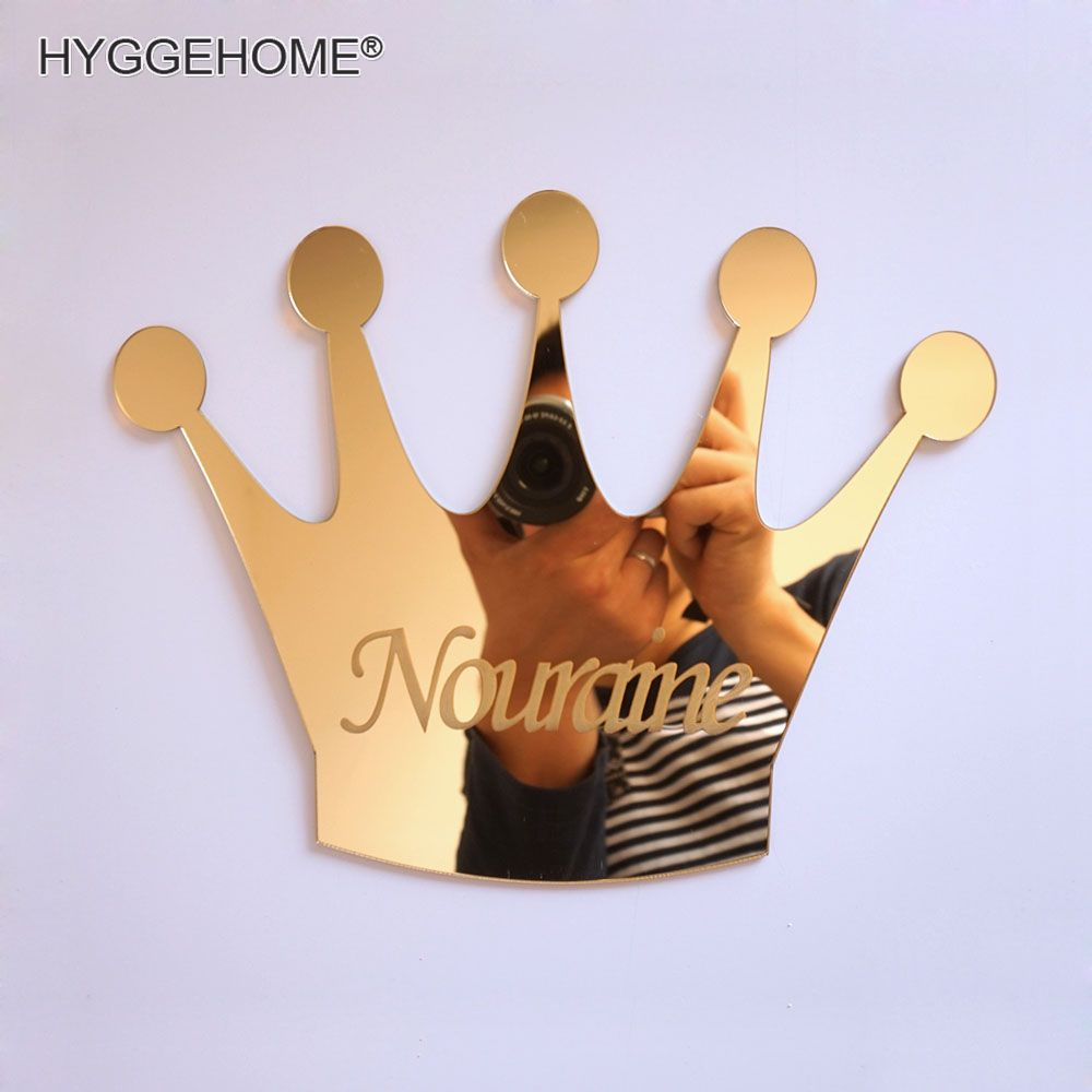 1pcs Mirrored Crown With Personalized Name Acrylic Mirror Sticker Customized Kid's Birthday Decoration Guest GIft Party Favors