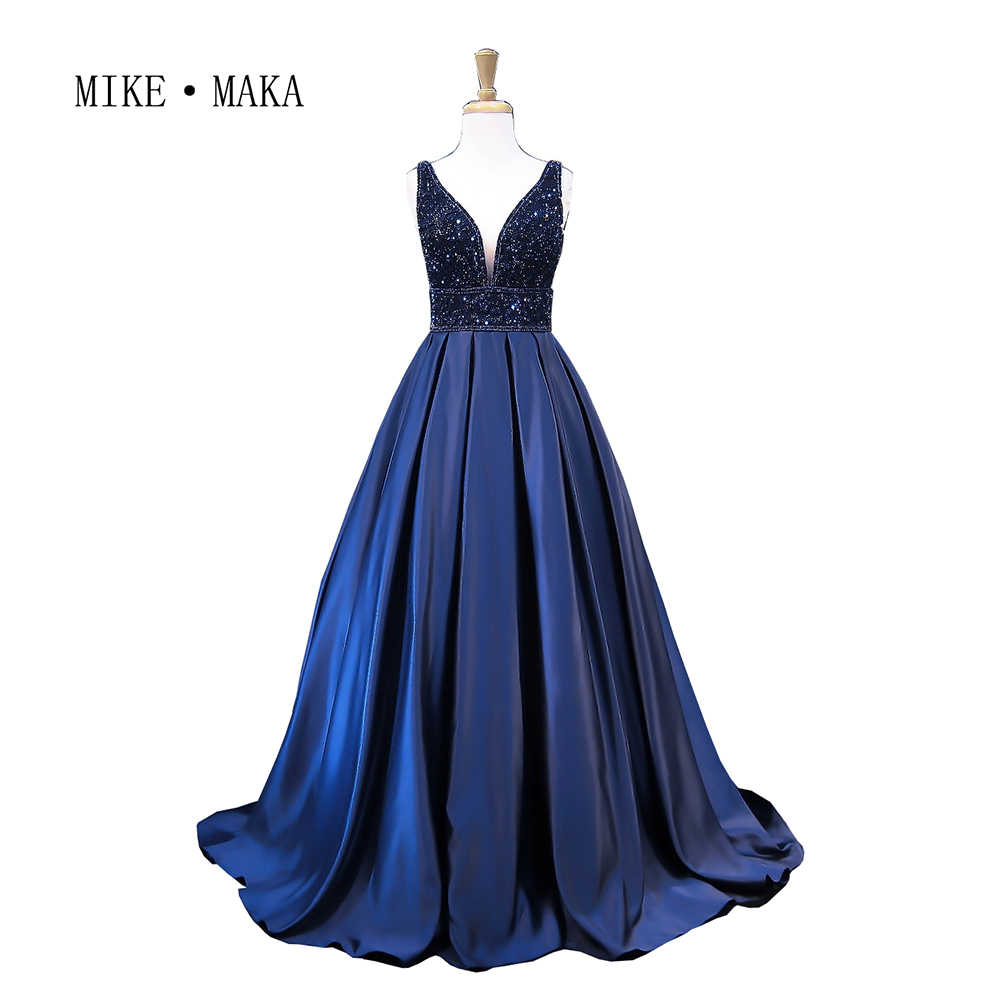 Темно-синие линии Длинные Вечерние платья 2017 из бисера спинки Атлас особых случаев Платье длиной до пола Длина Vestido De Fiesta