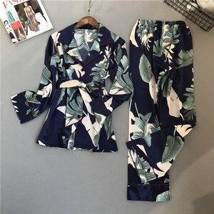 Image 5 - Женский пижамный комплект с цветочным принтом, атласная пижама с длинными рукавами, пижамный комплект на весну и лето
