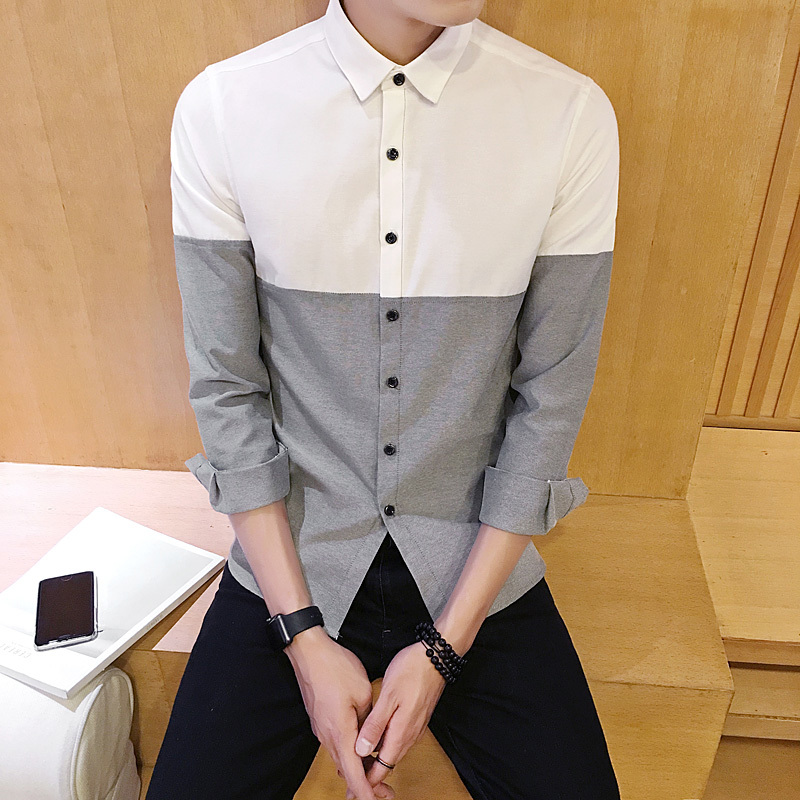 2018 Spring Dress Shirt Men Slim Fit Fashion New Small Fresh Casual Wild Long sleeved Shirt Line Stitching Shirt Man-in Casual Shirts from Men's Clothing