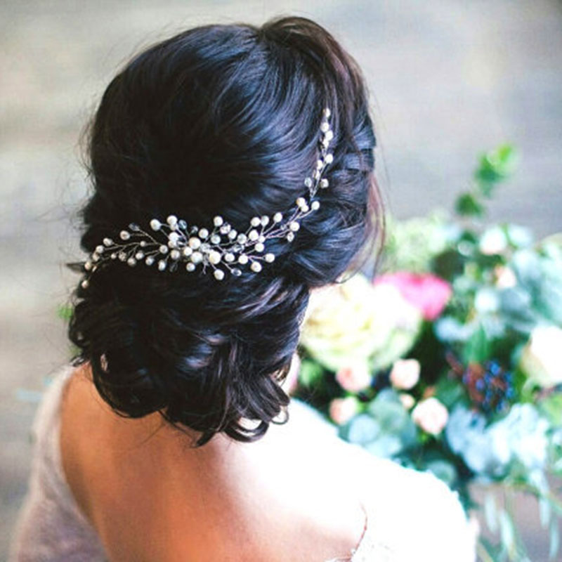 Metting Joura Wedding Party White Pearl Beads Braided  Hair Comb Hair Jewelry Hair Accessories metting joura vintage bohemian ethnic colored seed beads flower rhinestone handmade elastic headband hair band hair accessories