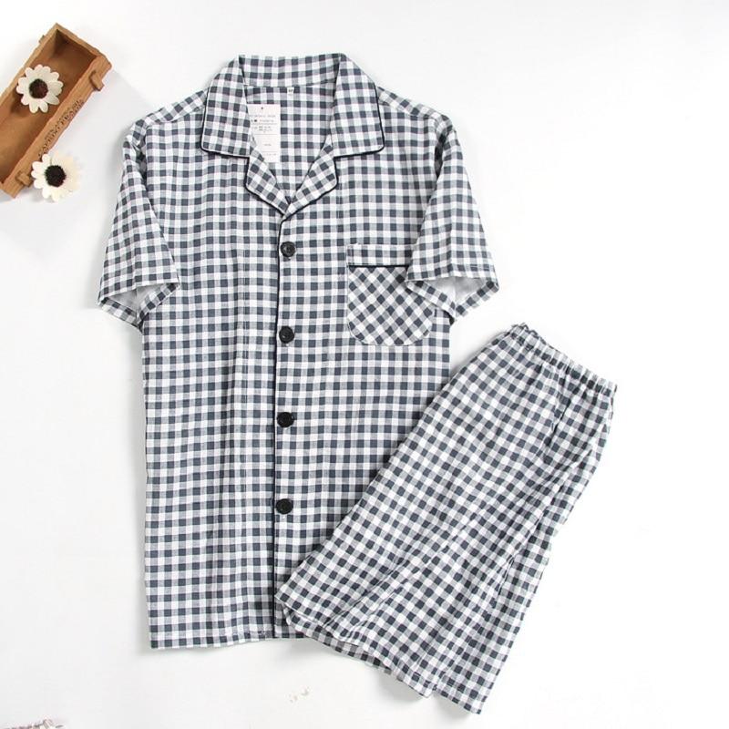 Cotton Double Gauze Plaid Men Home Clothing Summer Short Sleeve Sleepwear Black White Plaid Pijamas Short Sleeve Tops Shorts