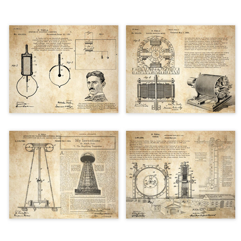 Vintage  Patent Art Prints  4 In 1 On  Nikola Tesla  Coil Turbine Lamp Tower Patent Parchment Paper Style  Unframed