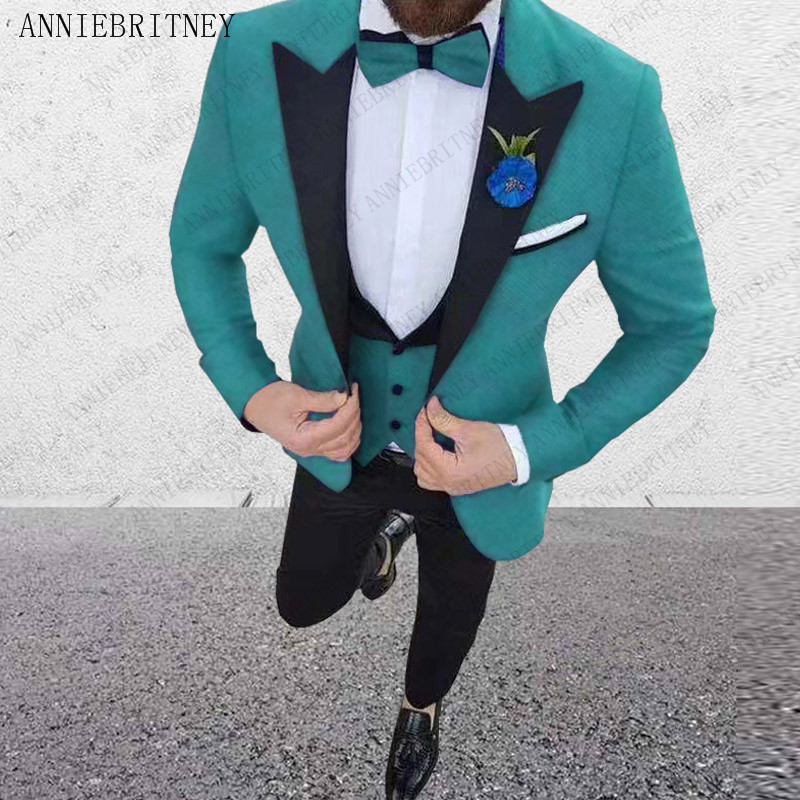 ANNIEBRITNEY Luxury Men Wedding Suit Male Blazers Slim Fit Suits For Men Costume Business Formal Blue Men Suit Groom Tuxedo Set