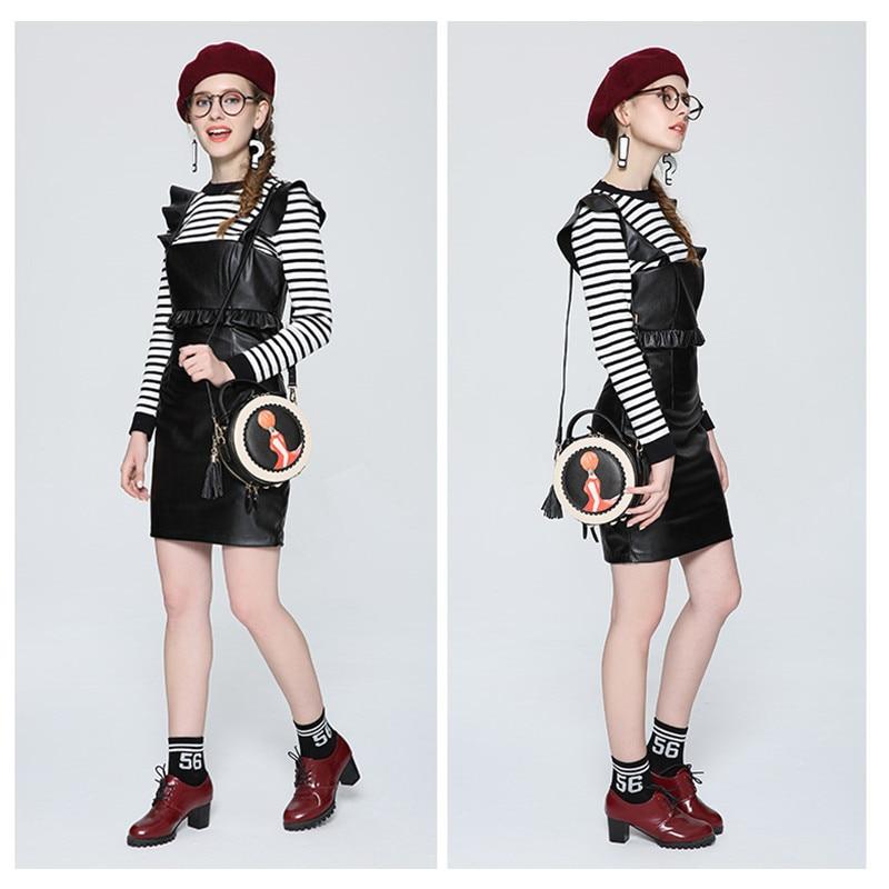 2018 vrouwen tas nieuwe tij ronde vrouwelijke cartoon geschilderd tas kwastje mini Messenger bag mode schoudertas kleine zwarte ronde tassen - 6