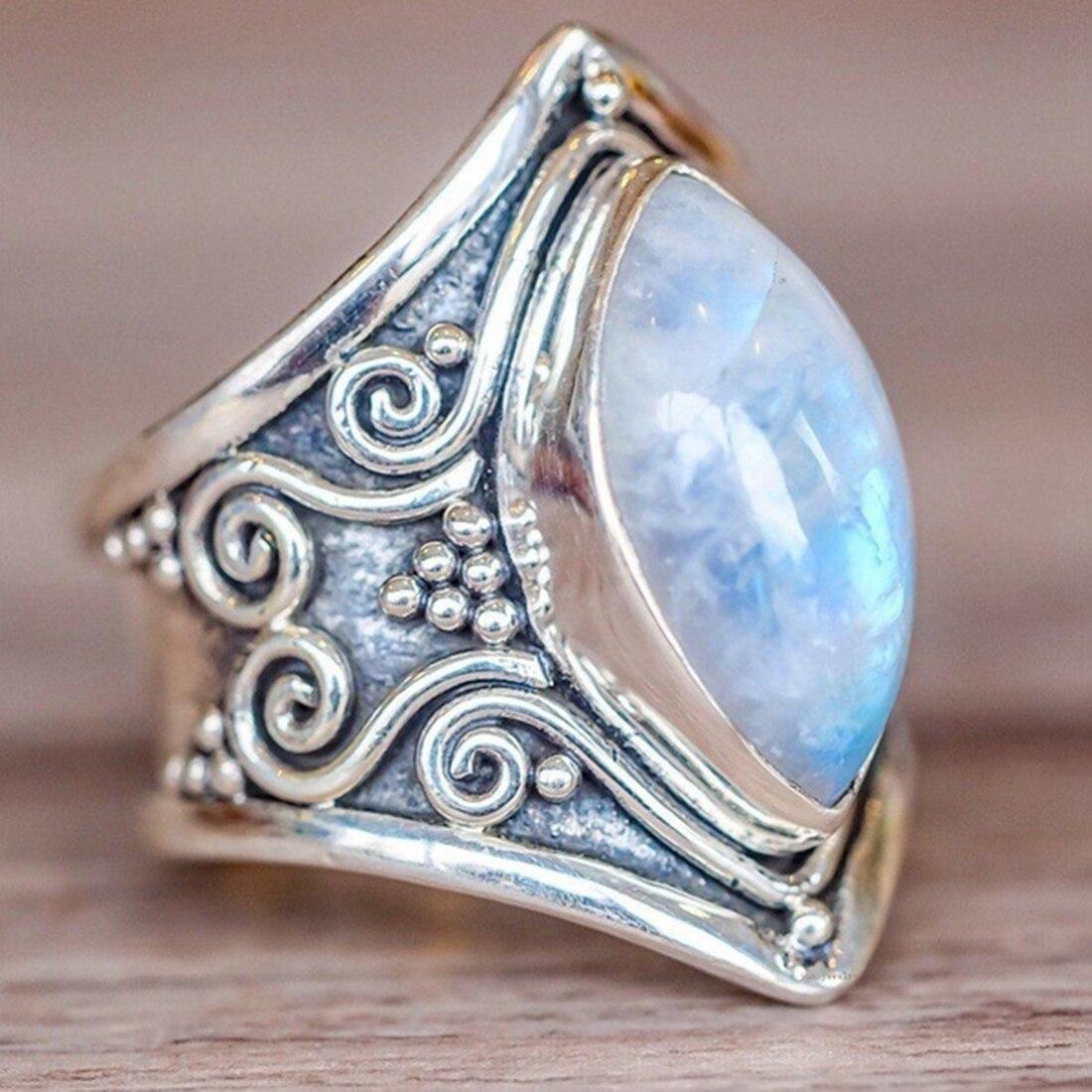 Винтаж Серебро Большое Каменное Кольцо для Для женщин Мода чешского ювелирные изделия в стиле