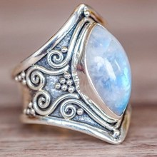 Vintage Silver Big Stone Ring for Women Fashion Bohemian Boho Jewelry 2018 New Hot(China)