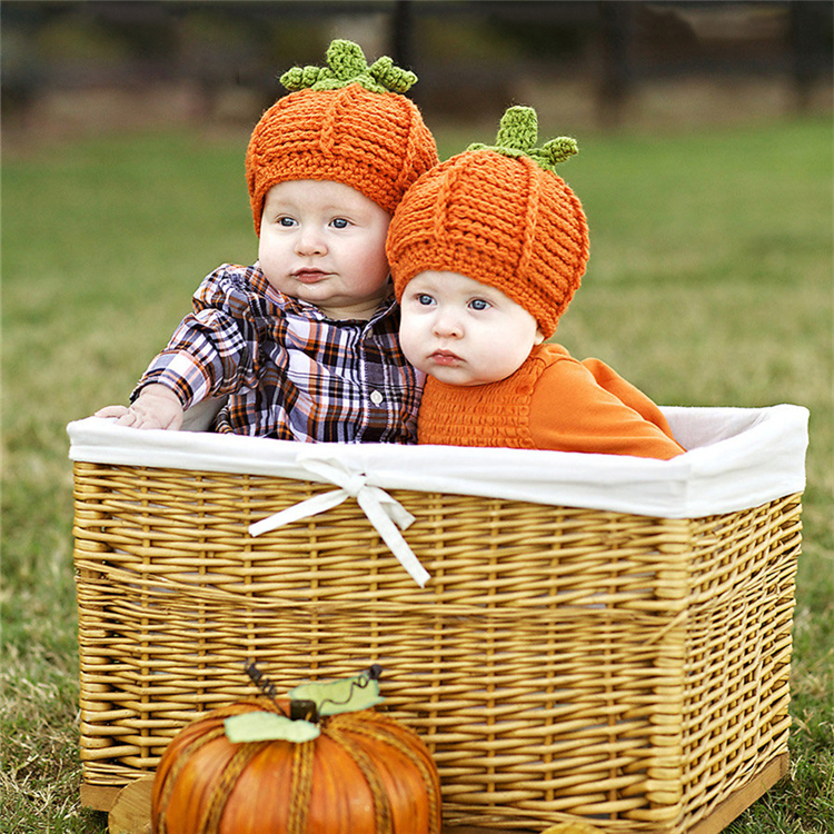 Pumpkin Baby Knitted Hat Infant Photography Props Accessories