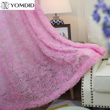 New 3D roses curtains for living room bedroom romantic Pink flower curtain Europe style short tulle curtain cortina home decor