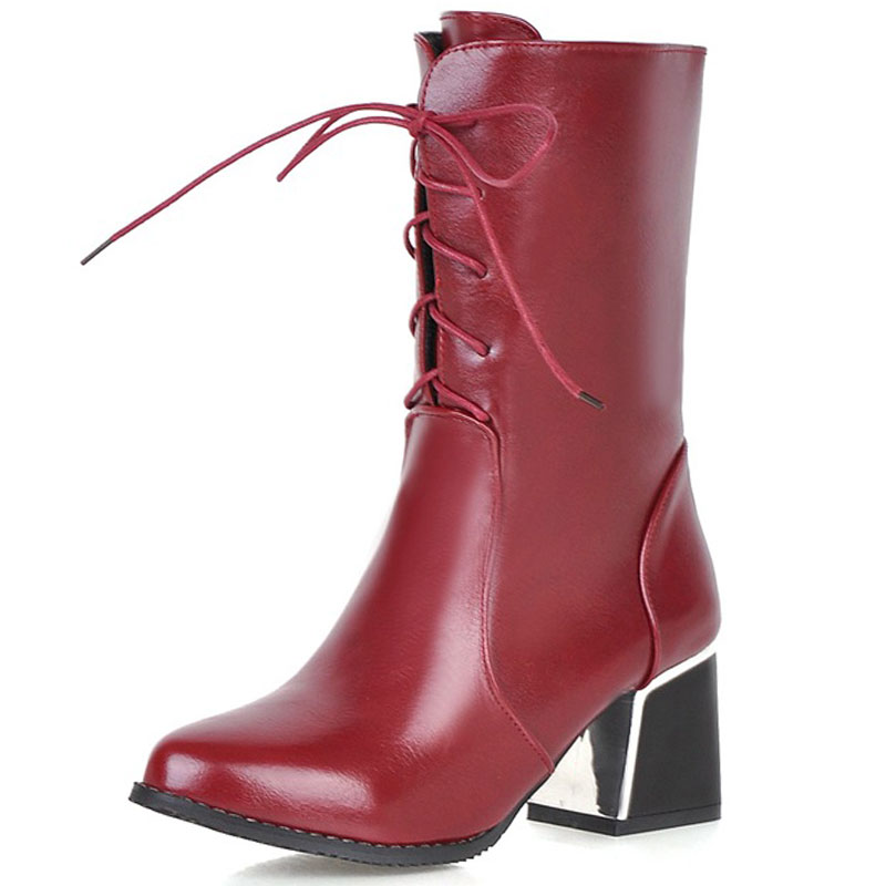 ФОТО Large size 34-42 2017 new office lace up simple mid calf boots for women round toe platform youth medium heel winter boots ZT756