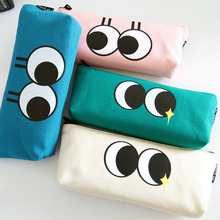 I55 Kawaii Big Eyes Emoji Canvas Zipper Pen Bag Pencil Stationery Storage Case Box School Office Supply Student Gift