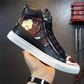 2016 Autumn Winter Shoes Men Casual Flats High Top Side Zip Totem Pattern Luxury Design Menswear Tide Street Style Dance Shoes