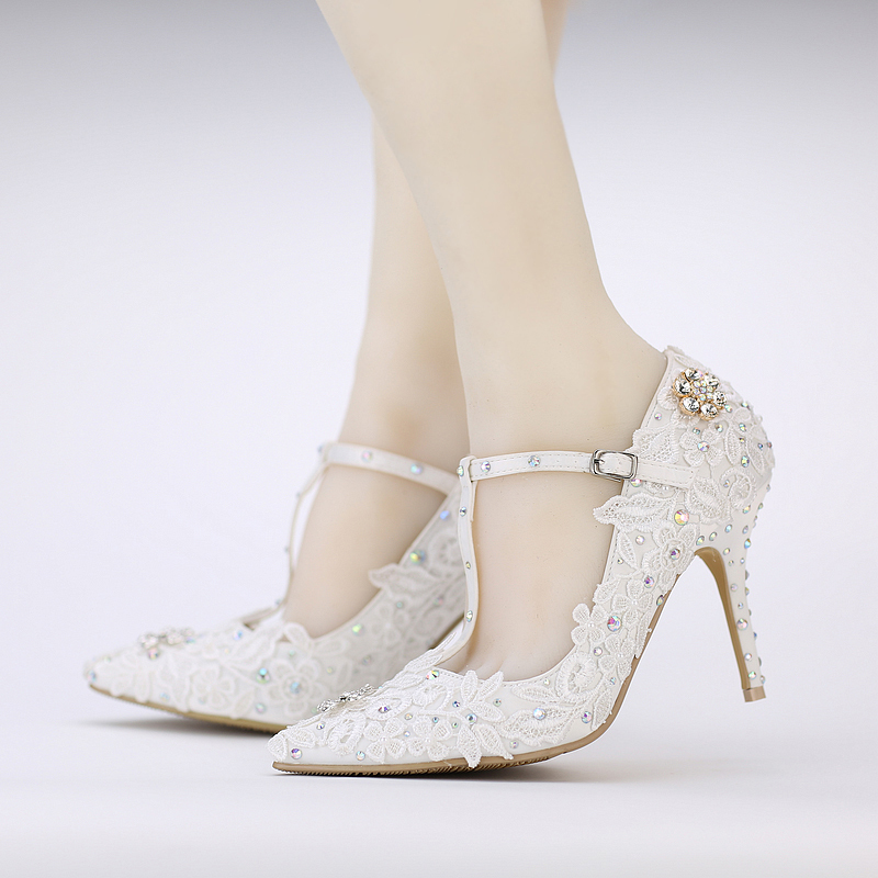 230ff95cdf4 Popular White Lace Flower Pumps Buckle Bridal Shoes T-strap Pointed Toe  Wedding Shoes AB Color Crytal Prom Party Women Shoes