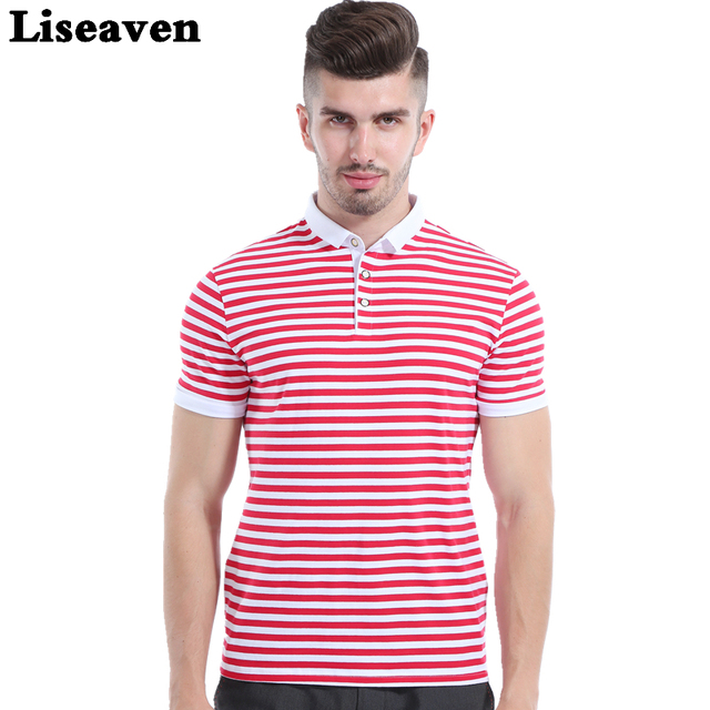 Liseaven Men Red Striped Polos Short Sleeve Polo Shirt Male Slim Fit Tee  Brand Tops Men Casual Clothing 1df2f50627ee1