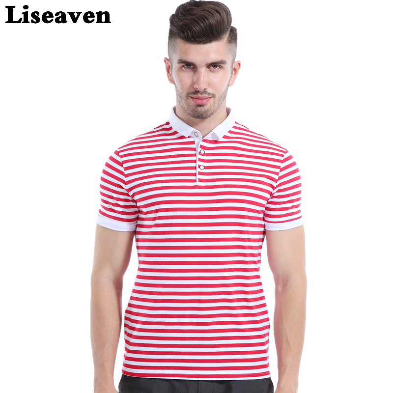 Liseaven Men Red Striped   Polos   Short Sleeve   Polo   Shirt Male Slim Fit Tee Brand Tops Men Casual Clothing