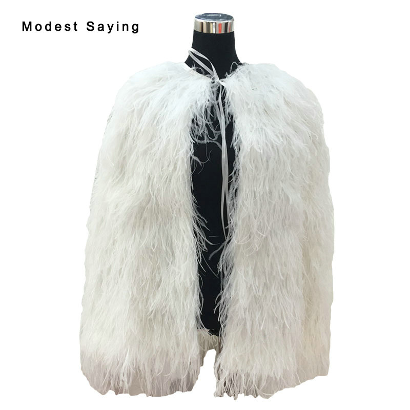 Luxury Ivory Ostrich Feather Wedding Fur Boleros Cape 2017 Hip Length Bridal Jackets For Evening Dress Wedding Accessories B287