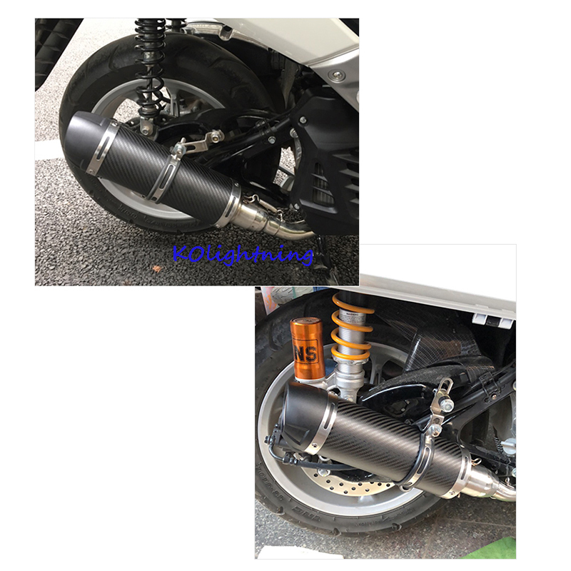 Motorcycle Scooter Universal Exhaust Muffler Real Carbon Fiber Modified Motorbike Exhaust Pipe For Dirt Street Bike
