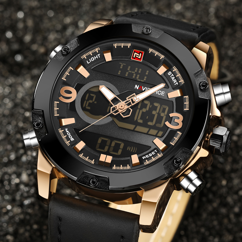 NAVIFORCE Luxury Brand Men Analog Digital Leather Sports Watches Men's Army Military Watch Man Quartz Clock Men Relogio Masculin weide new men quartz casual watch army military sports watch waterproof back light men watches alarm clock multiple time zone