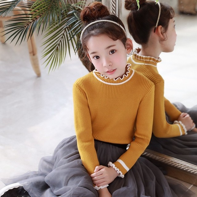e7f29623ea52 Knitted Tops Autumn Teen Girls Kid Sweater Long Sleeve Pullover ...