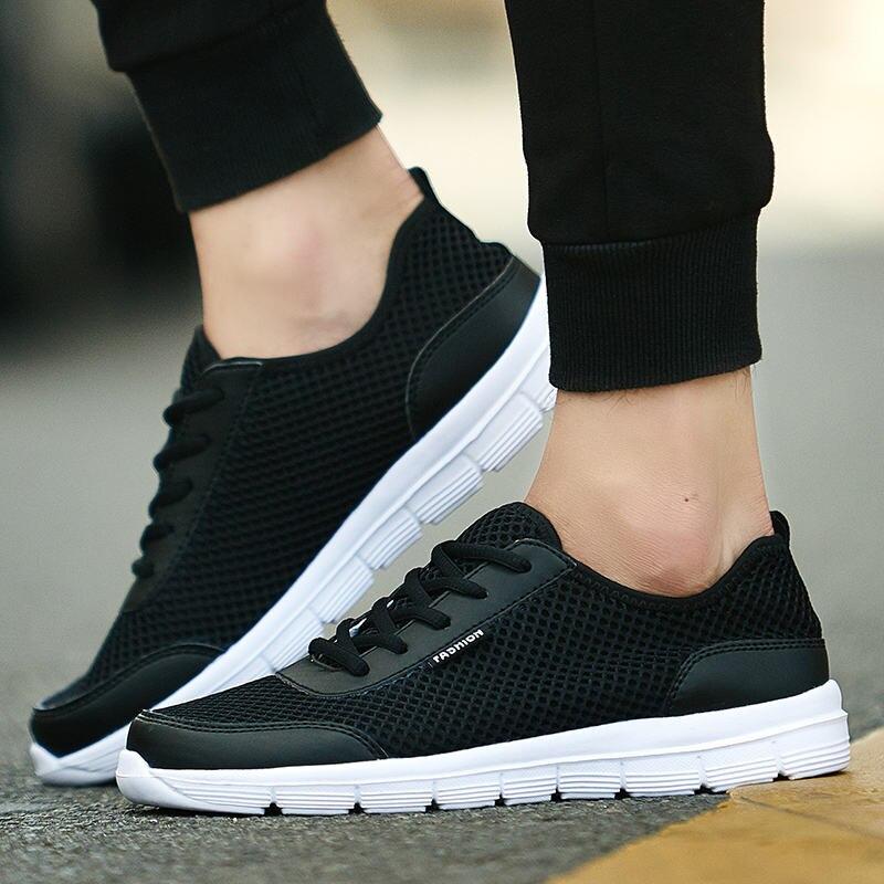 TOURSH Sneakers Men Summer Casuals Shoes Krasovki Men Shoes 2018 Shoes Men Breathable Men Tenis Masculino Plus Size 35-48 Black