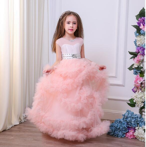 V-Back Pink Flower Girl Dress Princess Bridesmaid Party Ball Gown Formal Pageant