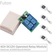 цена на 4 Channel 433Mhz DC12V Operated RF Relay Switch With Relay Receiver&Transmitter Remote Control Garage&LED Light For Smart Home