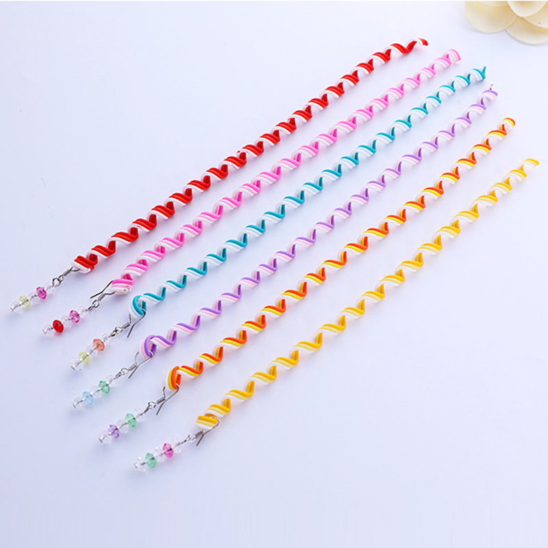 Korean Style Colorful Ribbon Hair Rope Tress Braid Weave Curly Hair Band Hair Circle Headwear For Women Ladies 12 pcs FS0423