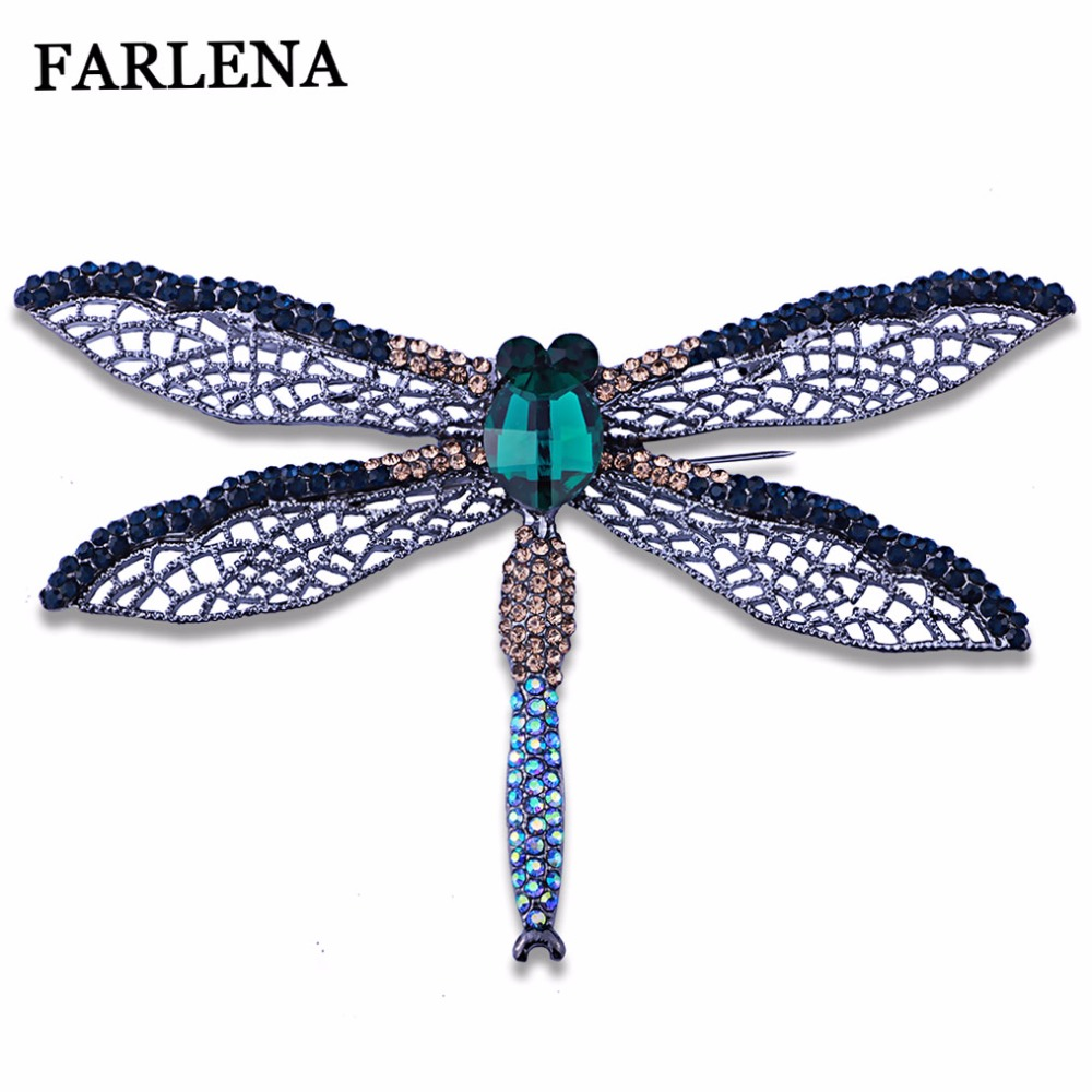 все цены на FARLENA Jewelry Hollow out Large Dragonfly Brooch Pins with Rhinestones Vintage Crystal Insect Brooches for Women