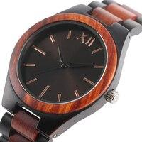 Ciemny Brąz/Sapphire Niebieski Twarz Wybierania Zegarki Pełna Drewniane Kobiety Analogowe Wrist Watch Mężczyźni Natura Drewno Kreatywny Zegar 2017 nowy Prezent