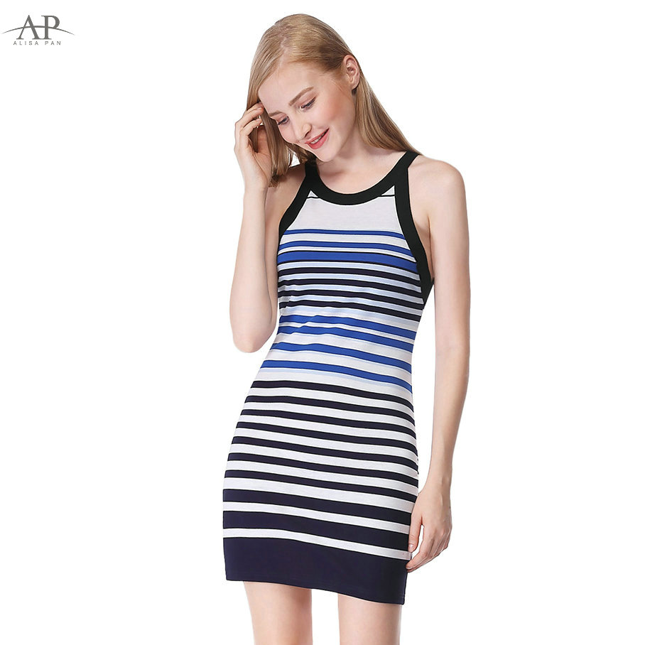 5d242e36098a16 2018 Modern Women Striped Sexy Casual Summer Dress Alisa Pan AS05675SB  Sheath Sleeveless Short O Neck Blue Bodycon Dresses -in Dresses from Women s  Clothing ...