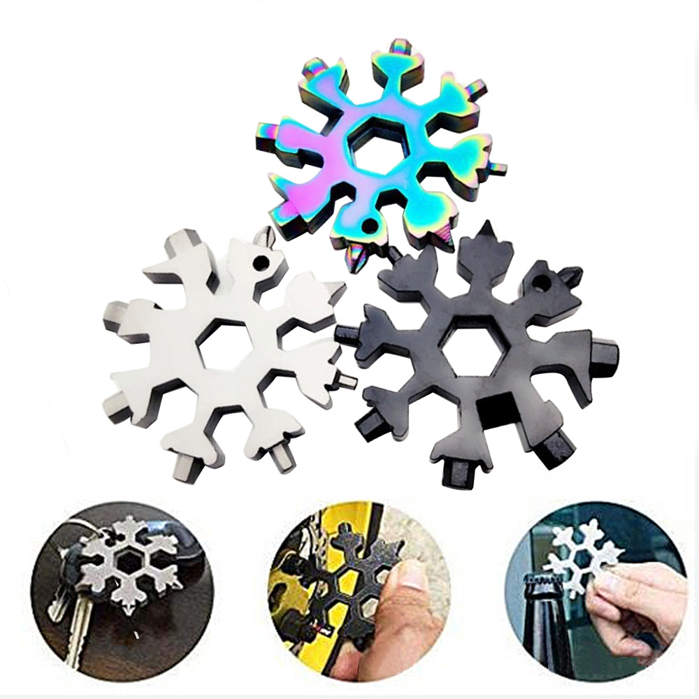 EDC Tool Snowflake Shape Multi-tool Card Combination Compact Multifunction Screwdriver Wrench BottleStainless Steel Multi -Tool