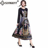 Simgent 2017 Autumn Womens Vintage Long Sleeve Print Elegant Fit And Flare Long Retro Dresses Jurk