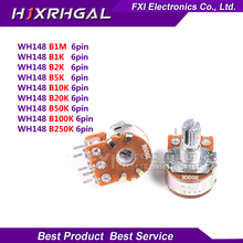 2pcs WH148 B1K B2K B5K B10K B20K B50K B100K B500K 6Pin Shaft Amplifier Dual Stereo Potentiometer