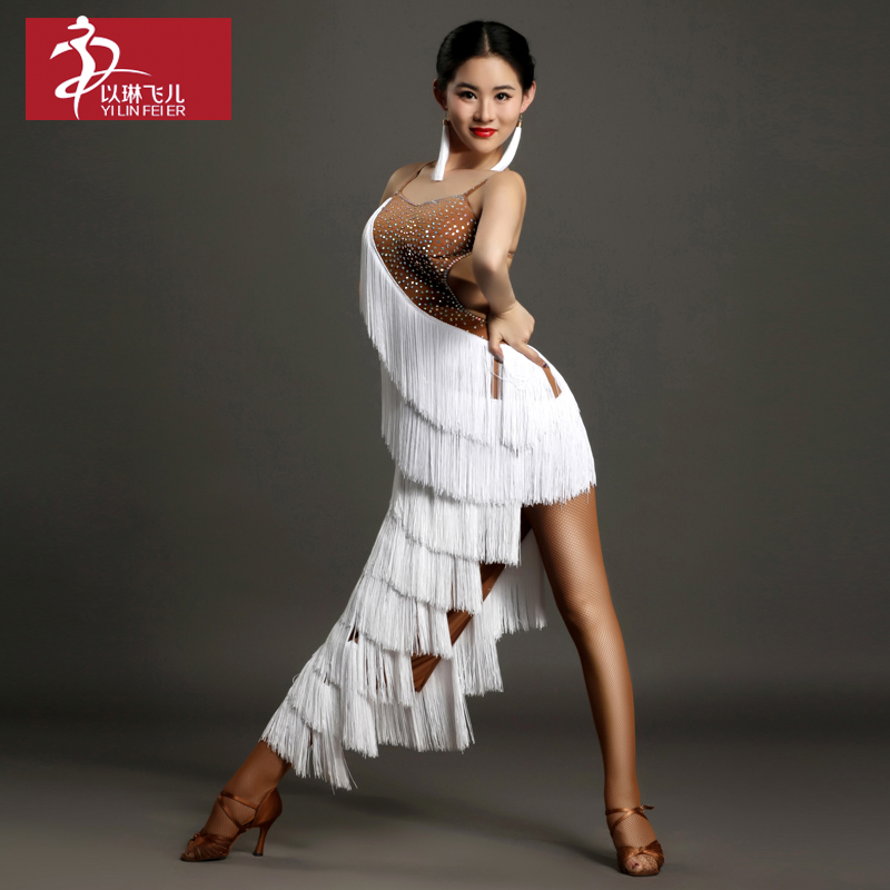 2017 Ballroom Dress Real Latin Fringe Dress Womens Ballroom Tango Rumba Cha Samba Dance Costumegb016 High-grade Diamond Costume