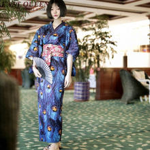 Japanese kimono traditional geisha yukata japanese dress cosplay haori obi female women komono boho kimonos woman 2018 KK405(China)